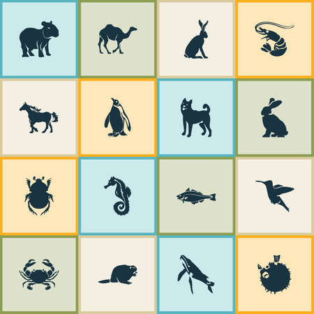 Zoo icons set with rabbit, capybara, whale and other dromedary