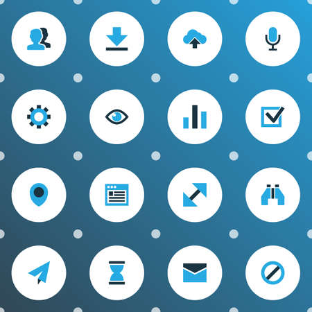 Interface icons colored set with mail, find, microphone and other column