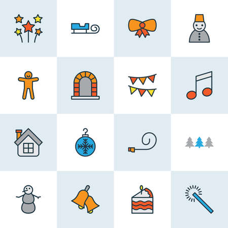 Holiday icons colored line set with bow, party blower, forest and other popper whistle