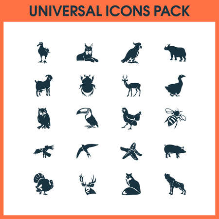 Zoo icons set with owl, starfish, bee and other bug