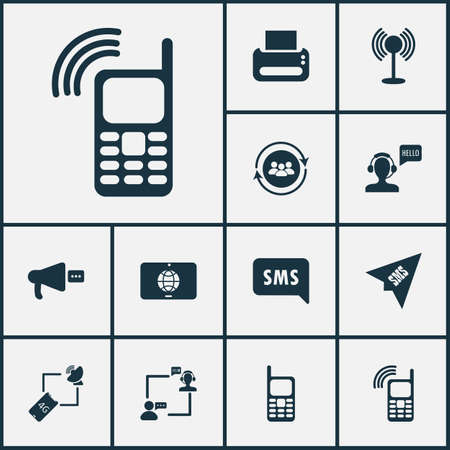 Communication icons set with send sms, printer, operator with customer and other mailbox