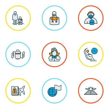 Airport icons colored line set with buy on board, oxygen mask, plane highway and other pathway   elements. Isolated vector illustration airport icons.