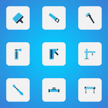 Construction icons colored set with fire extinguisher, barrage, construction stapler and other sewerage