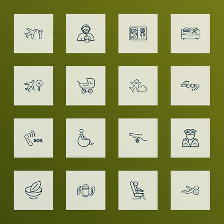 Travel icons line style set with disabled, sitting man, oxygen mask and other banquet   elements. Isolated vector illustration travel icons. Illustration