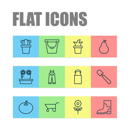 Farm icons set with tomato, gardening shoes, pear and other shovel elements. Isolated vector illustration farm icons.