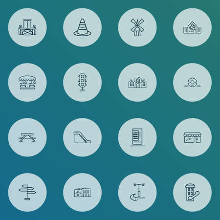 City icons line style set with warning cone, city lights, escalator and other signpost   elements. Isolated vector illustration city icons.