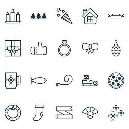 Holiday icons set with fireworks, ribbon banner, christmas sock and other wax  elements. Isolated vector illustration holiday icons.