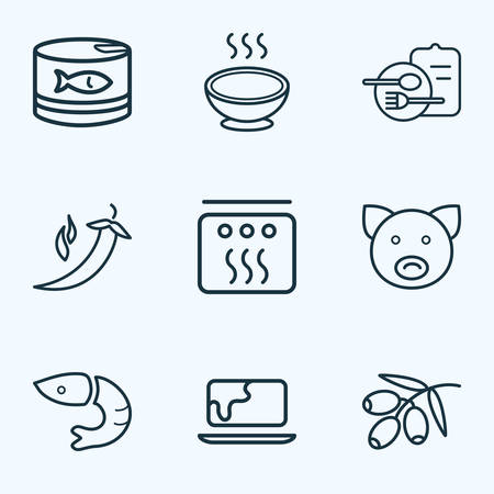 Eating icons line style set with menu, tuna can, pepper and other pork elements. Isolated vector illustration eating icons.
