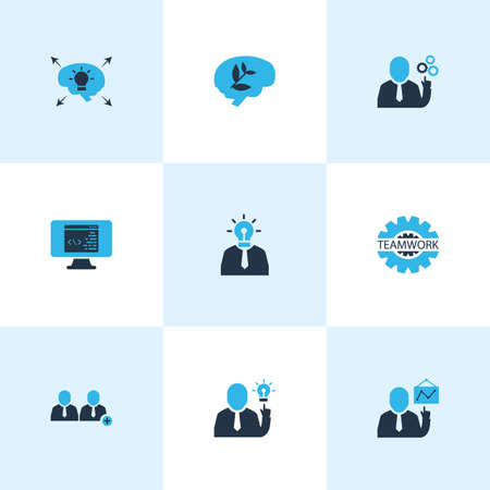 Teamwork icons colored set with different ideas, brainstorming, team leader and other cogwheel   elements. Isolated vector illustration teamwork icons. Ilustrace