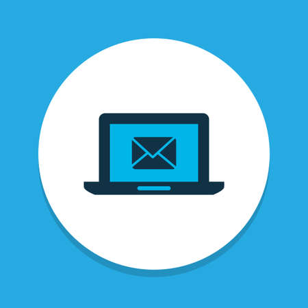 Messaging icon colored symbol. Premium quality isolated mail on laptop element in trendy style. Illustration