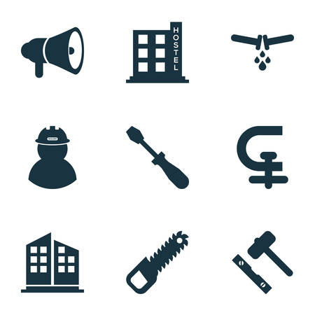 Industry icons set with foreman, turn-screw, hostel and other clamp   elements. Isolated vector illustration industry icons.