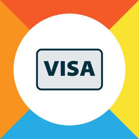 Visa icon colored line symbol. Premium quality isolated international identification element in trendy style.