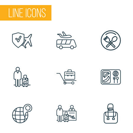 Travel icons line style set with airport shuttle, restaurant sign, hand baggage cafe symbol   elements. Isolated vector illustration travel icons.