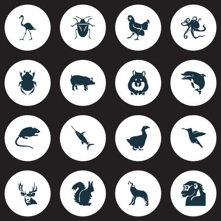 Animal icons set with goose, flamingo, squirrel and other fin  elements. Isolated vector illustration animal icons.