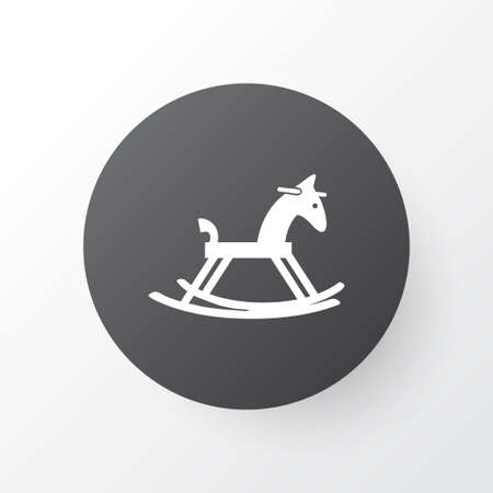 Rocking horse icon symbol. Premium quality isolated wooden pony element in trendy style.