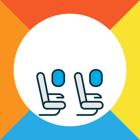 Plane seats icon colored line symbol. Premium quality isolated passenger chair element in trendy style.