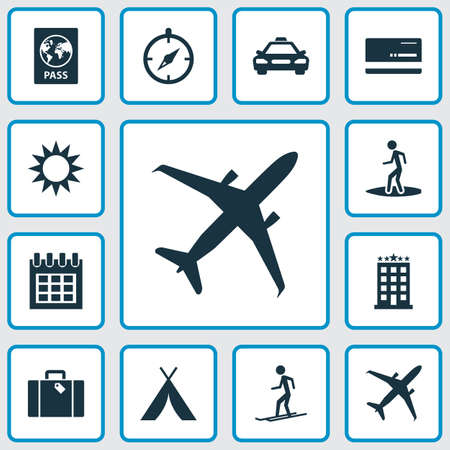 Traveling icons set with hotel, surfer, calendar and other building  elements. Isolated vector illustration traveling icons. Illustration