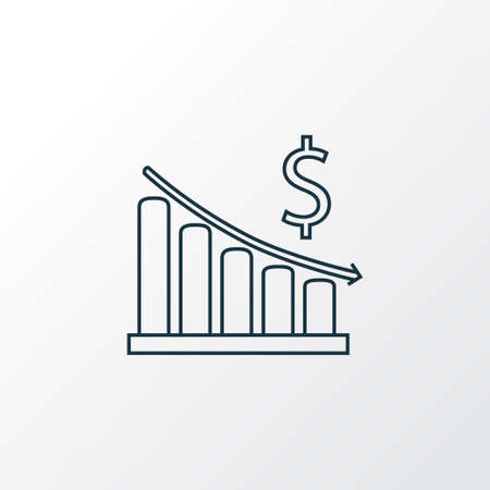 Money decrease icon line symbol. Premium quality isolated finance element in trendy style.