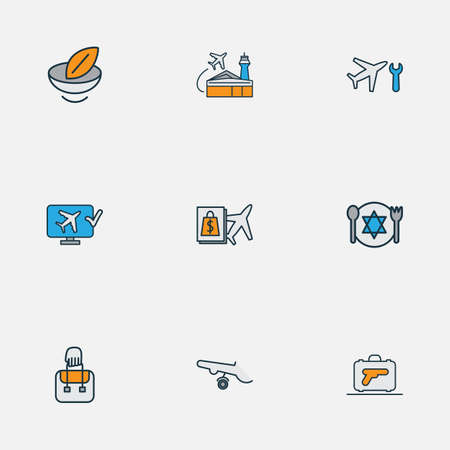 Airport icons colored line set with luggage with gun, airplane wheels, airport building and other meal   elements. Isolated vector illustration airport icons.