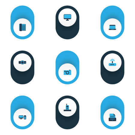 Device icons colored set with projector, phone, photo camera and other presentation   elements. Isolated vector illustration device icons.