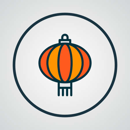 Chinese lantern icon colored line symbol. Premium quality isolated light element in trendy style. Ilustrace