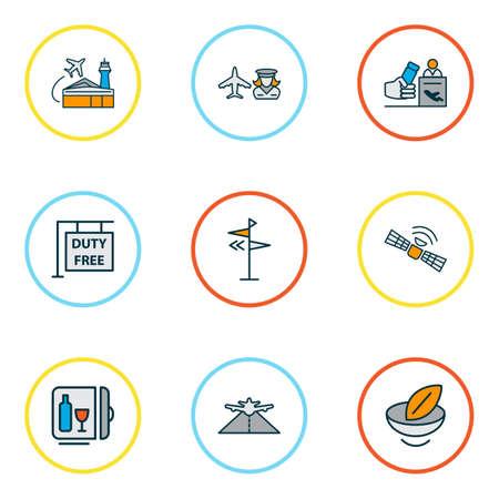 Ligne colorée d'icônes de voyage sertie de nourriture végétalienne, satellite, direction et autres éléments de télécommunication. Icônes de voyage illustration vectorielle isolé.