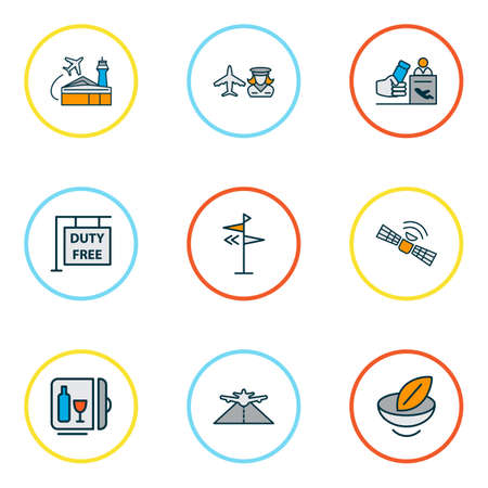 Travel icons colored line set with vegan food, satellite, direction and other telecommunication elements. Isolated vector illustration travel icons.