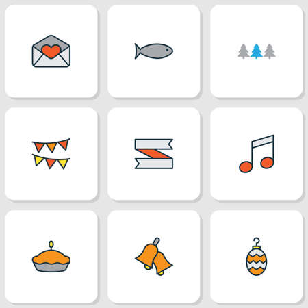 Year icons colored line set with ringing, music note, love letter and other heart mail   elements. Isolated vector illustration year icons. Illustration