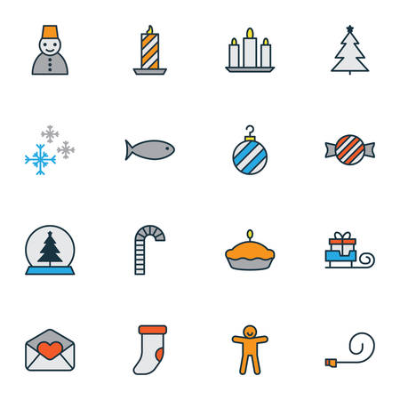 Holiday icons colored line set with christmas tree, pie, christmas sock and other fir   elements. Isolated vector illustration holiday icons. Ilustrace