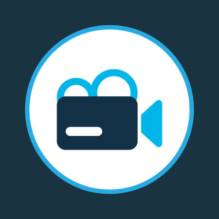 Video camera icon colored symbol. Premium quality isolated camcorder element in trendy style.
