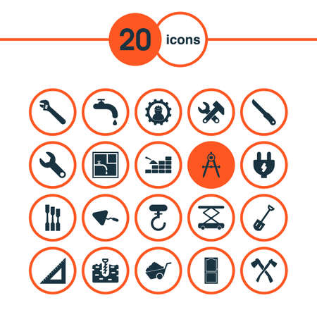 Construction icons set with trowel, working, instruments and other sharp   elements. Isolated vector illustration construction icons.