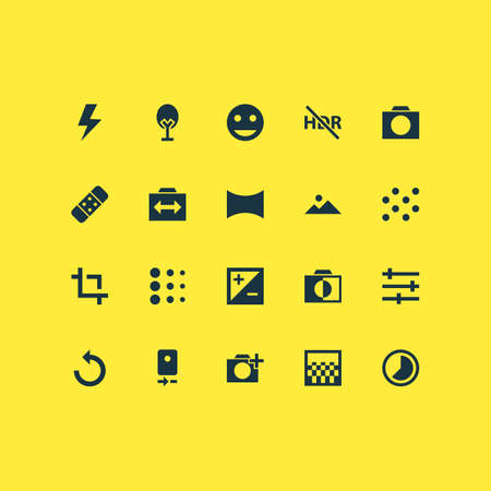 Image icons set with timelapse, tune, photographing and other mountain   elements. Isolated vector illustration image icons. 일러스트