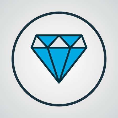 Diamond icon colored line symbol. Premium quality isolated brilliant element in trendy style. Illustration