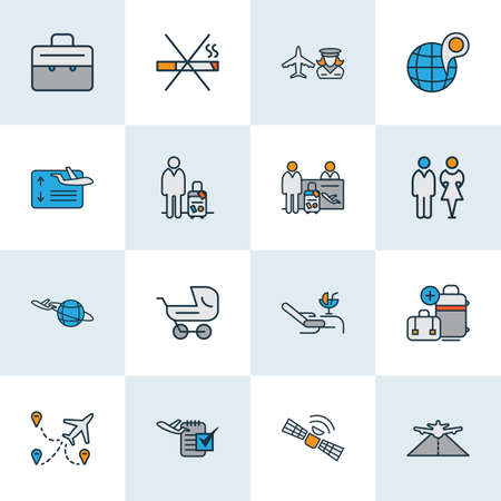 Travel icons colored line set with no smoking, flight board, plane around the world and other luggage  elements. Isolated vector illustration travel icons.