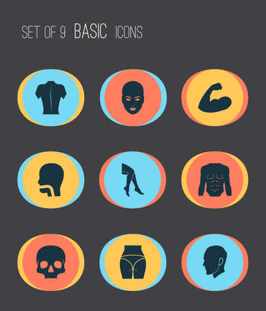 Part icons set with leg, head, back and other head