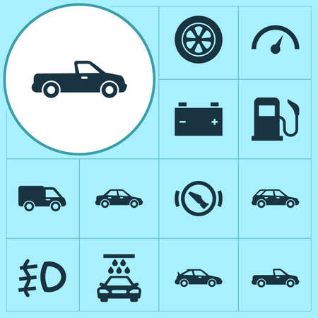Auto icons set with tie, sedan, station wagon and other oil station  elements. Isolated vector illustration auto icons.