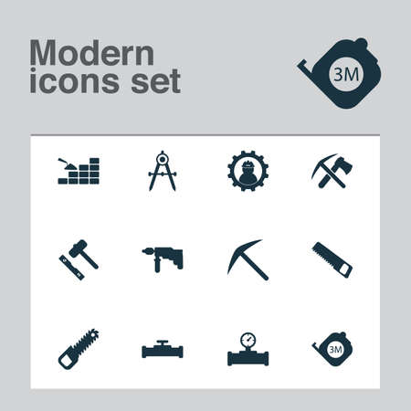 Construction icons set with pipe with sensor, roulette, working and other pickax   elements. Isolated vector illustration construction icons.