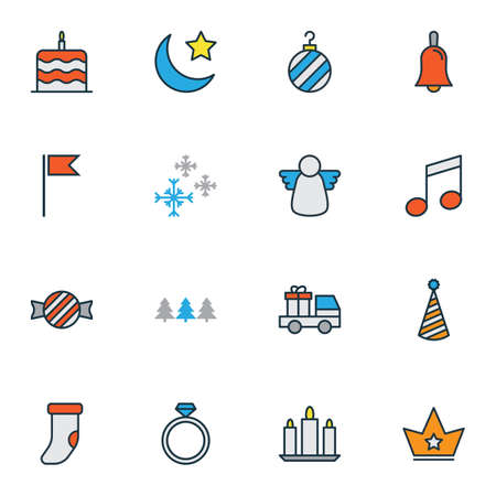 Christmas icons colored line set with cake, forest, crown and other snow crystal   elements. Isolated vector illustration christmas icons.
