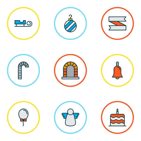 Year icons colored line set with cake, ribbon banner, fireplace and other birthday dessert  elements. Isolated vector illustration year icons.