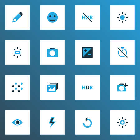 Photo icons colored set with hdr, gallery, photographing and other rotate left  elements. Isolated vector illustration photo icons. 向量圖像
