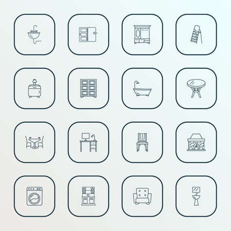 Furniture icons line style set with shelving unit, coffee table, washing machine and other stairs