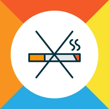 No smoking icon colored line symbol. Premium quality isolated stop cigarette element in trendy style.
