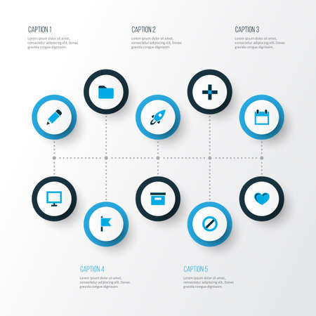 User icons colored set with edit, launch, calendar and other dossier elements. Isolated vector illustration user icons.