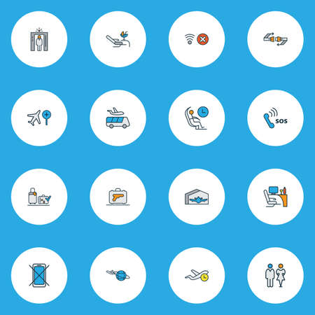 Transportation icons colored line set with seatbelt, emergency contact, flight time and other valise