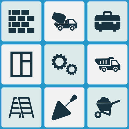 Building icons set with concrete mixer, trowel, window and other stair  elements. Isolated vector illustration building icons. Illustration