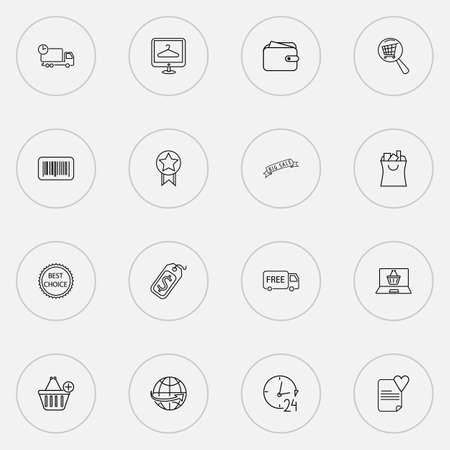 Commerce icons line style set with big sale, online shop, best choice and other support  elements. Isolated vector illustration commerce icons. Archivio Fotografico - 125158775