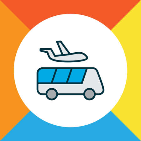Airport shuttle icon colored line symbol. Premium quality isolated transportation element in trendy style.