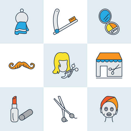 Barbershop icons colored line set with face mask, scissors, haircut and other shears elements. Isolated vector illustration barbershop icons.