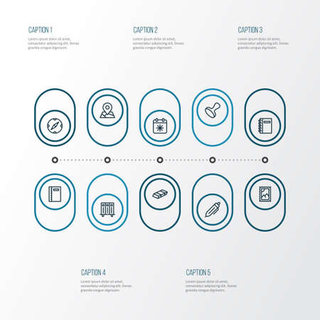 Tool icons line style set with stamp, eraser, compass and other navigation   elements. Isolated vector illustration tool icons.