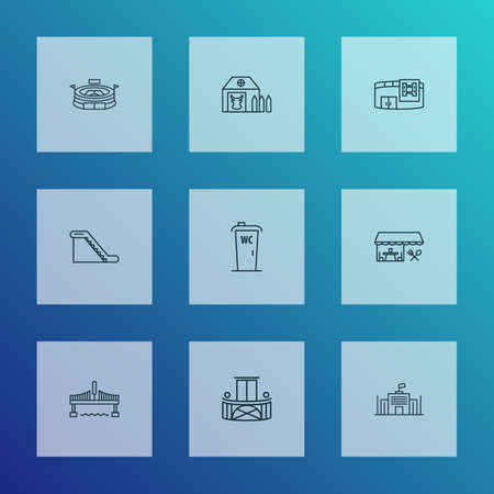 Public. Skyline icons line style set with restaurant, wc cabin, farm house and other walkway   elements. Isolated vector illustration public. Skyline icons.